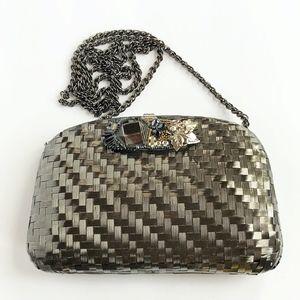Vintage Rodo Italy metal woven gunmetal purse